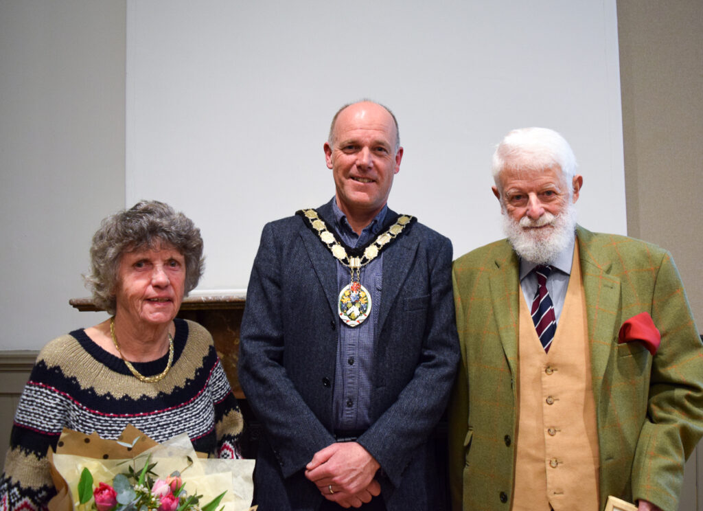 Marjorie and Bob Morris receiving their civic awards from Mayor Rich Ackroyd in 2019.